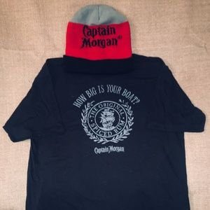Captain Morgan beanie hat and t shirt XL